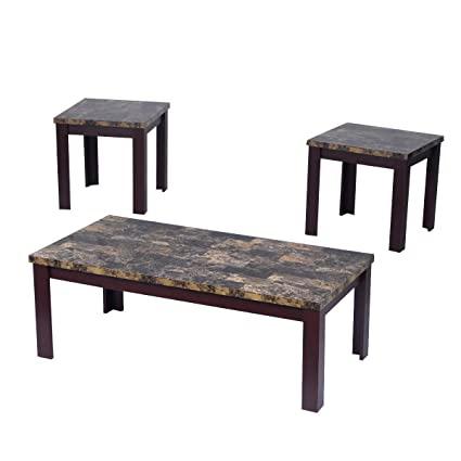 Giantex 3 Piece Faux Marble Coffee Table Set Living Room Sofa Accent End  Corner Cherry