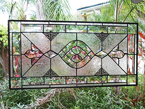 (A Stained Glass Panel, Traditional Vintage Look Bevel Window Treatment, Unique Stained Glass Window Transom, Shabby Decor Glass Valance, OOAK )