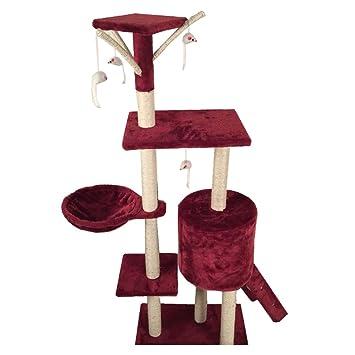 Rascador para gatos Árbol Gato 138 cm con caseta para gatos Árbol Parque Juegos juegos tira