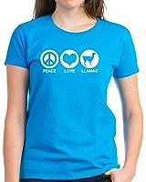 CafePress - Peace Love Llamas Women's Dark T-Shirt - Womens Cotton T-Shirt