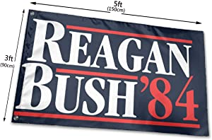 hlhhing Reagan Bush 84 Campaign Blue Garden Flag Yard Sign Outdoor Decoration Banners (3 X 5 Ft)