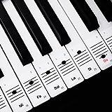Faburo 2pcs Autocollants amovibles pour notes de piano Stickers transparents pour Clavier de piano 54,61,88 touches et 2pcs Chiffons à piano