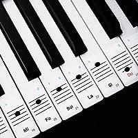 Faburo 2pcs Pegatinas Para Notas musicales transparentes Etiquetas Engomadas Para Teclado de piano 54,61,88 y 2pcs…