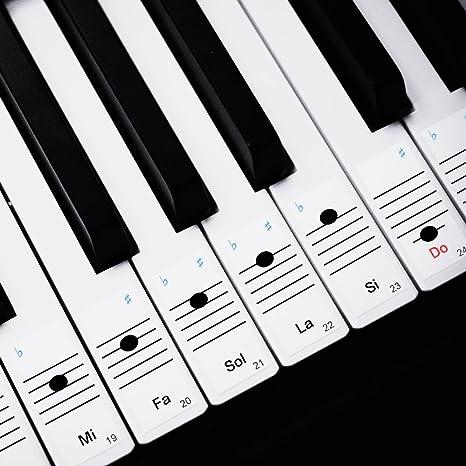 Faburo 2pcs Pegatinas Para Notas musicales transparentes Etiquetas Engomadas Para Teclado de piano 54,61