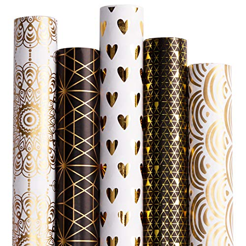 RUSPEPA Gift Wrapping Paper roll-White and Black with Gold Foil Pattern for Wedding,Birthdays, Valentines, Christmas-5 Roll-30Inch X 10Feet Per Roll ()