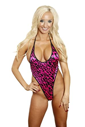72655f3ae30e5 Image Unavailable. Image not available for. Color: Bitsy's Bikinis Pink/ Black Leopard Monokini Micro G-String Thong Extreme 1 Piece