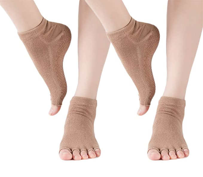 ERJO Toeless Yoga Socks Cotton Half Toe Grip Pilates Socks Non Slip Barre Ballet Socks for Women Men YS30
