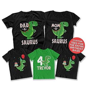 Amazon Teepinch 4th Birthday Shirt Dinosaur Party Theme Fourth Boy 4 Year Old DAT 3119 20 24 29 Clothing