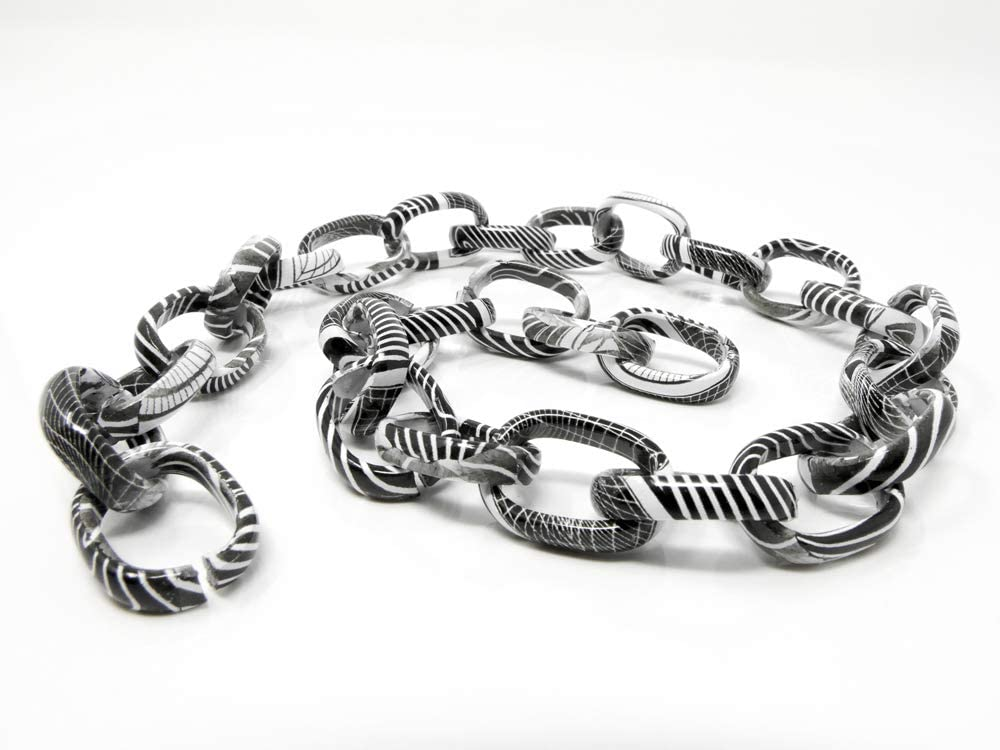 Metallkette Gliederkette 50cm Schmuckkette aus Alu Kettenrohling schwarz-wei/ß