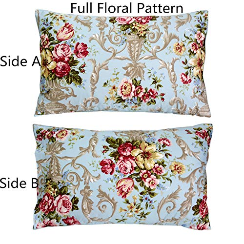 Pillow Cotton Sham Floral - FADFAY 20X30 Pillowcase Luxury Peony Floral Shams 100% Egyptian Cotton Pillow Covers, 2Pcs, Standard Size (Twin/Full/Queen)