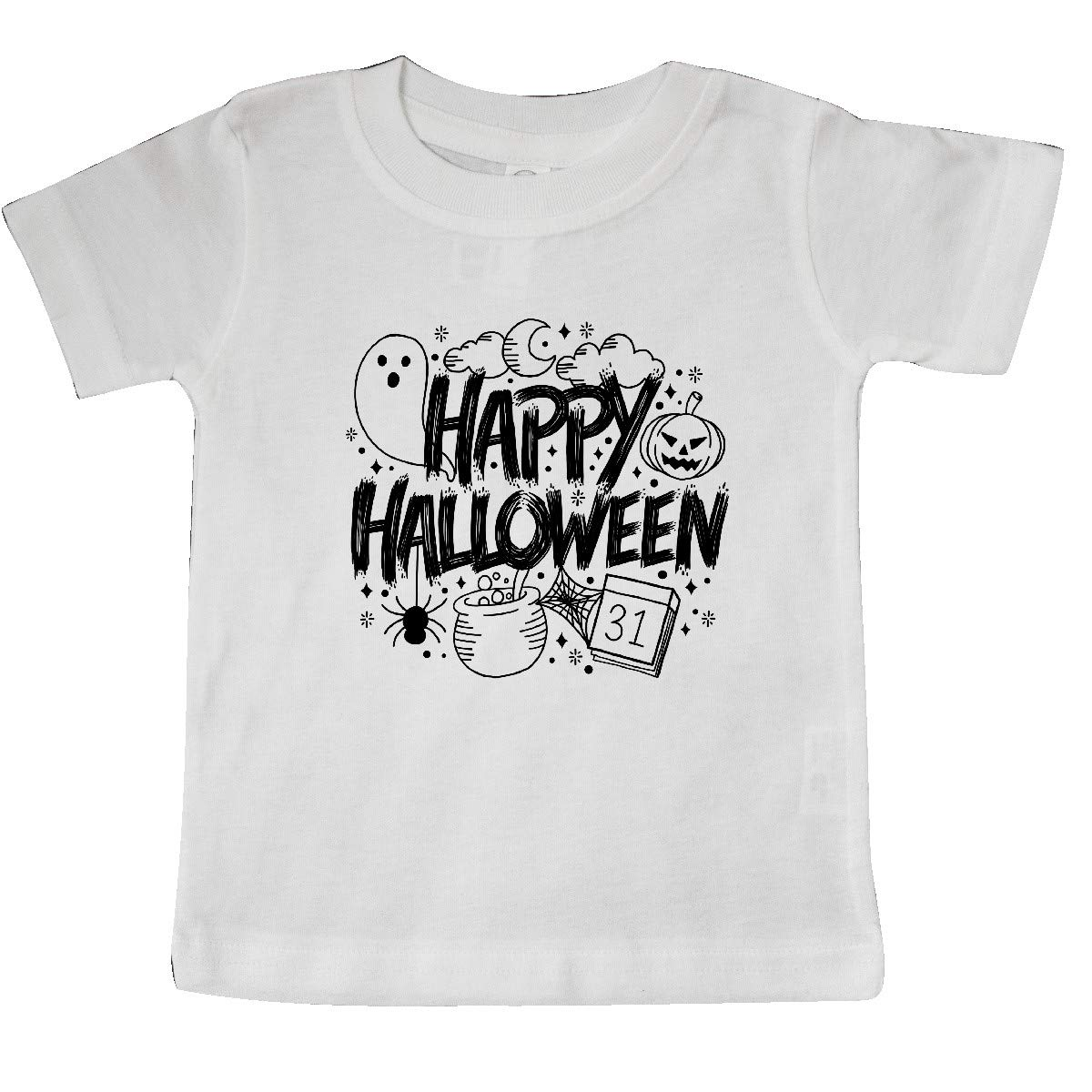 inktastic Halloween Doodle with Ghost Pumpkin and Cauldron Baby T-Shirt