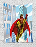 Superhero Tapestry, Caped and Masked Hero Flying in City Skyscrapers Classic Urban Scenery, Wall Hanging for Bedroom Living Room Dorm, 60 W X 80 L Inches, Light Blue Gold Red