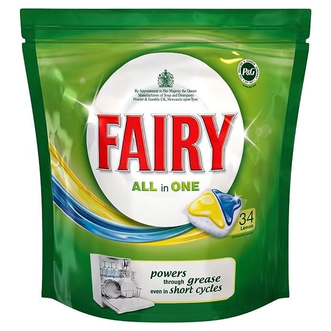 Fairy Todo En 1 Pastillas De Lavavajillas Limón (34) (Paquete de 6 ...