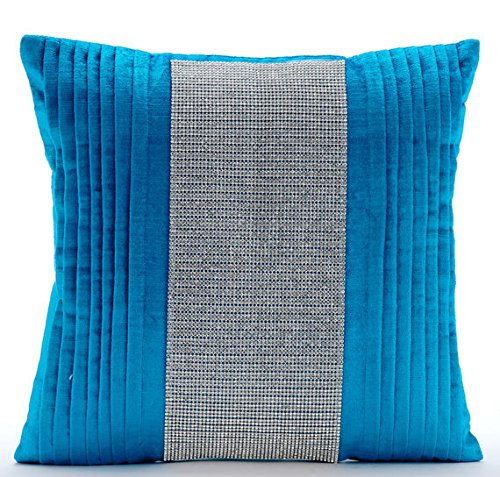 Designer Blue Euro Shams, 26''x26'' Euro Sham, Crystals & Pintucks Bling Euro Pillow Shams, Velvet Euro Shams, Striped Modern Euro Shams - Diamante Dance by The HomeCentric