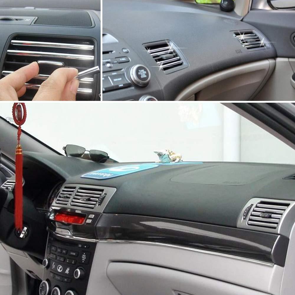2 Mt U Stil DIY Auto Innen Klimaanlage Outlet Vent Grille Chrome Dekoration Streifen Silbrig