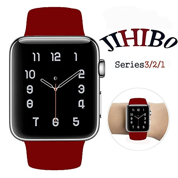 Jihibo Smart Watch Band 42mm, silicone watch band for Apple Watch 42mm Series 3/Series2/Series1/Sport/Edition. (wine red, 42mm S/M)