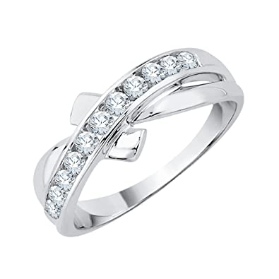 Amazon Com Katarina Channel Set Criss Cross Diamond Wedding Band In