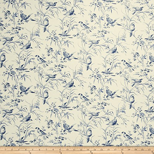 French General Aviary Toile Linen Indigo Fabric by The Yard