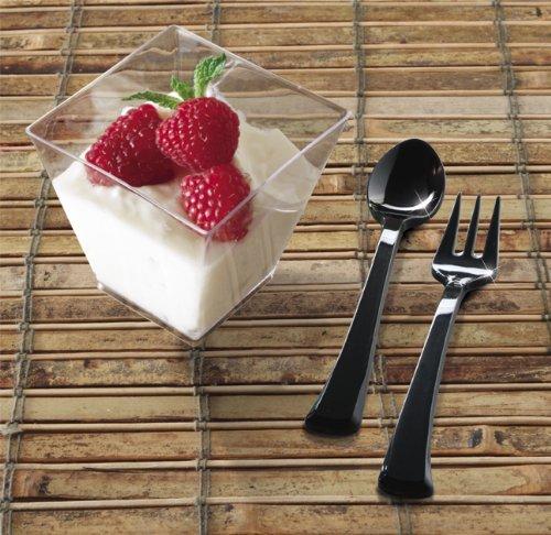 EMI Yoshi Koyal Mini Forks, 4-Inch, Black, Set of 500