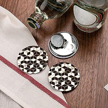 Abridores de botellas redondos con patrón de mármol 3d / Imanes de nevera Sacacorchos de acero inoxidable Etiqueta magnética 2 piezas
