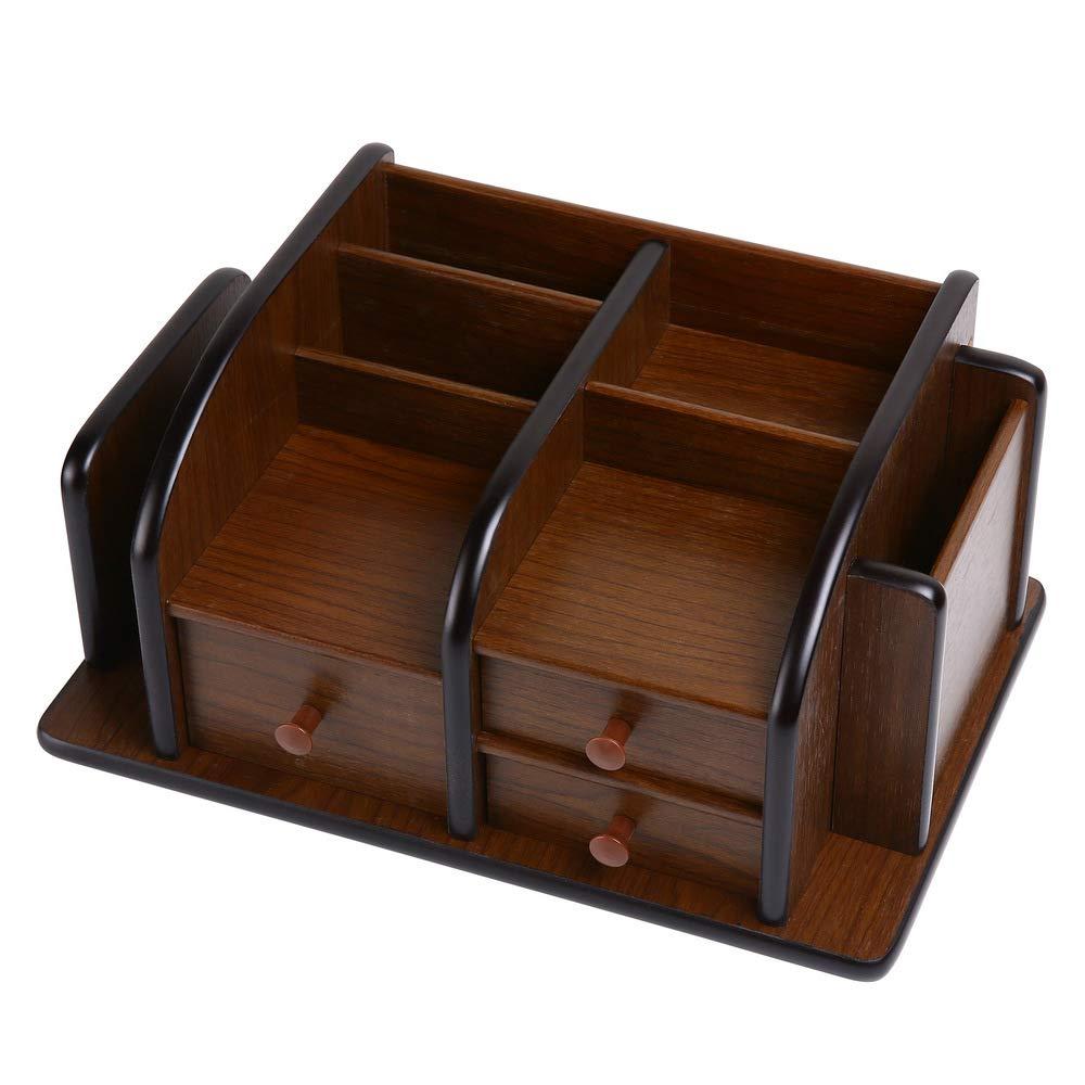 Siveit Wooden Desk Organizer, Wood Desktop Organizer with 3 Drawers 2 Shelves and 3 Compartments Office Supplies Holder Desk Accessories (Desk Organizer-3+3+2)