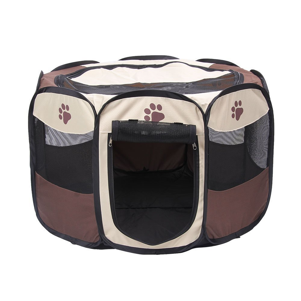 ANSON Brown 35 inch Animal Playpen for Pet Exercise Pen Kennel 600d Oxford Cloth,Outdoor Yard (L(35''Dia x 23''H))