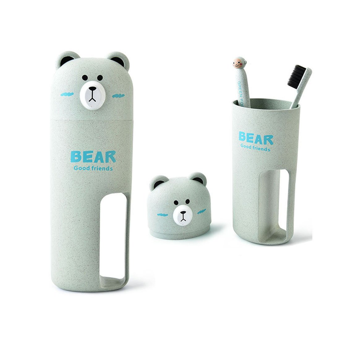 BeneKing Wash Gargle Suit Toothbrush Holder Antibacterial Travel Toothpaste Holder Case Bear-Shape Wheat Straw Plastic Portable 2 Toothbrush & 1Container Set