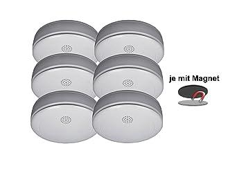 6er juego de detectores de humo, con soporte magnético, con 10 años de batería de litio, RM218Set-6: Amazon.es: Bricolaje y herramientas