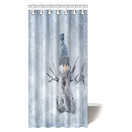 interestprint christmas shower curtain set smiling snowman standing in the snow fabric bathroom shower curtain - Christmas Shower Curtain Set