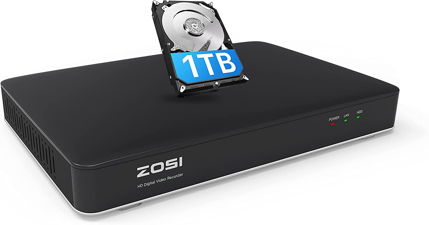 ZOSI H.265+ 5MP Lite 8 Channel Security DVR Recorder with 1TB Hard Drive,8CH Hybrid 4-in-1 CCTV DVR for 960H 720P 1080P Home SurveillanceCamera System,Remote Access, Motion Detection,24/7 Recording