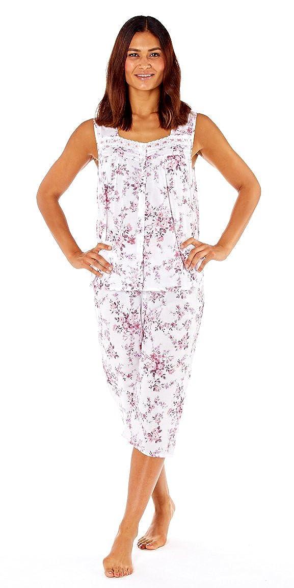7c526b6f9f Lady Selena Ladies Floral Cotton Cropped Pyjama Set  Amazon.co.uk  Clothing