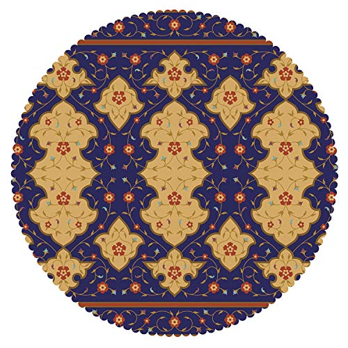 iPrint Funky Round Tablecloth [ Moroccan,Traditional Arabic Border Visual Ottoman Inspired Unusual Repeating Pattern,Purple Sand Brown ] Decorative Ideas