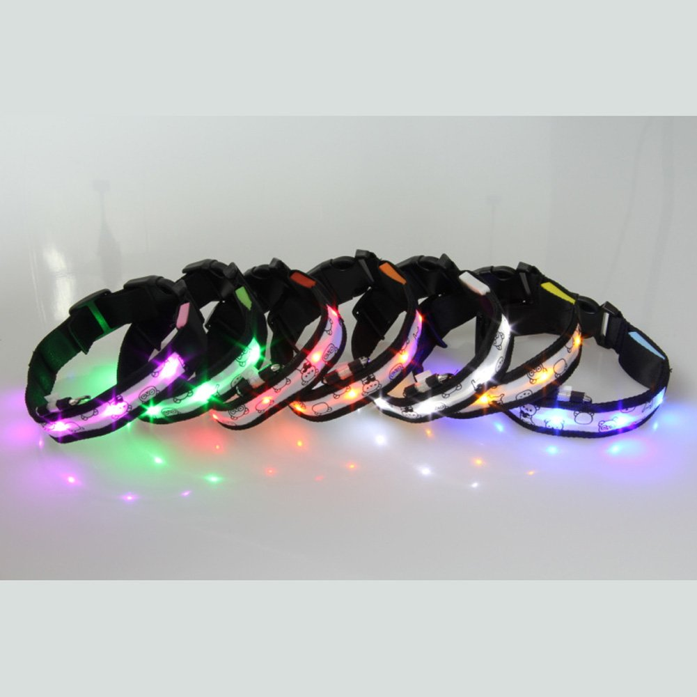 7-piece LED Pet Collar with Printing on Nylon Pet and Dog Collar Christmas gift (Size M)