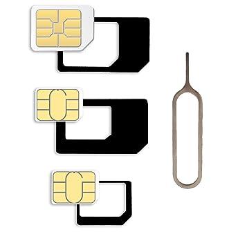 Adaptador de tarjetas SIM Set para Smartphone y Tablet: Set 4 en 1, SIM Adaptador Nano a Micro, Nano a normal, Micro a SIM normal, adaptador de ...