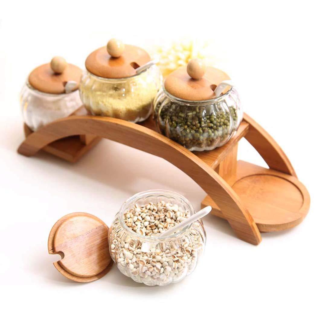 per sale e pepe e zucchero Portaspezie in legno con cucchiai barattoli di vetro e portaspezie in legno