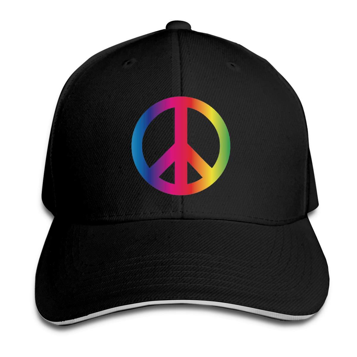 Rainbow Peace Sign Pride Classic Adjustable Cotton Baseball Caps Trucker Driver Hat Outdoor Cap Black