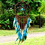 Indian Dream Catcher Handmade Wall Hanging Home Decor Dream Catcher with Feathers Dia 5.9″ (NO.2)