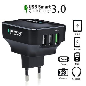 [Quick Charge 3.0] Qualcomm Cargador de Pared con 3 Puertos USB Carga Rápida Tecnología Smart IC para iPhone 6s, Nexus 6, Note 4/5, LG G4 y más ...