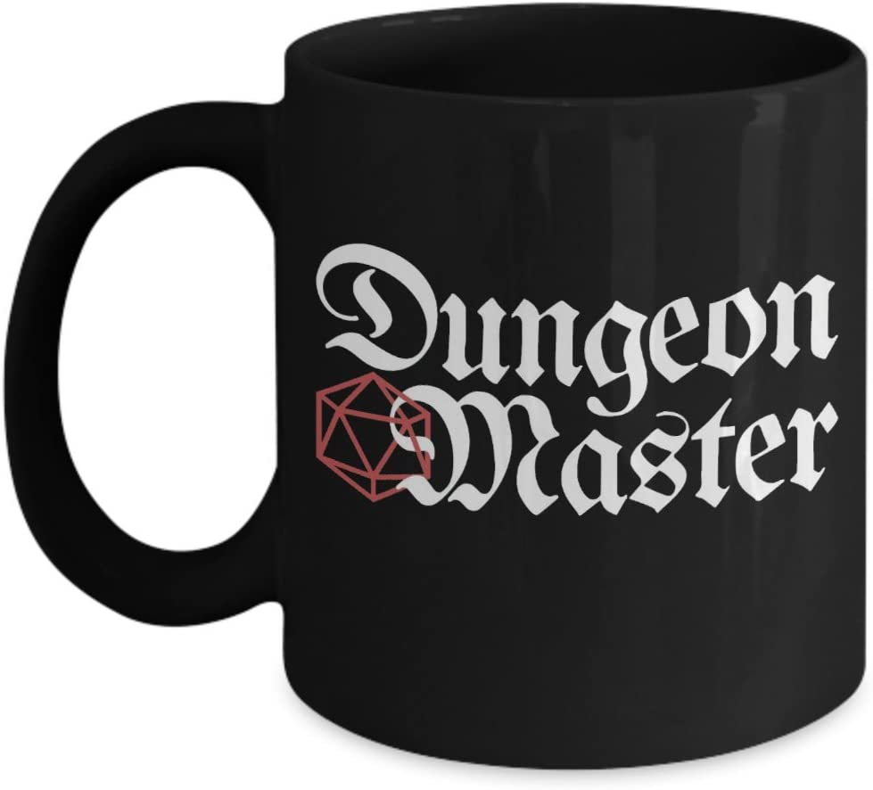 Dungeons and Dragons Dungeon Master D20 Dice Black Ceramic Coffee Mug - Great Gift Idea for Nerds and Geeks