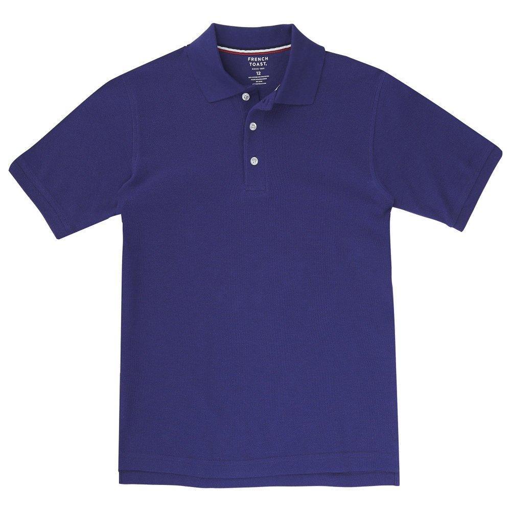 French Toast Boys' Big Short Sleeve Pique Polo Shirt (Standard & Husky), Purple M (8)