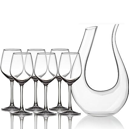 JIAJU Vidrio sin Plomo Vino Tinto 6 Decanter Portavasos Copa de Vino Copa de Vino Set
