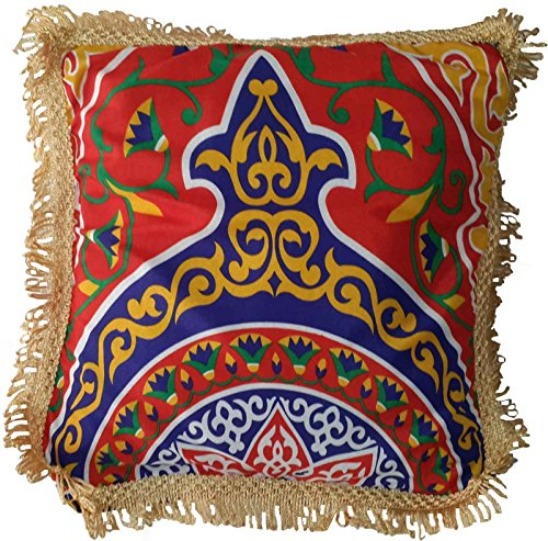 Egypt gift shops Egyptian Classic Ethnic Tribal Arabic Cairo Ramadan Decorative Decorations Decor Pillow Cushion Cloth Cover Exotic Fabric Tapestry Khayameya Tapestry Artwork Fringes Trimmings TAP023 by Egypt gift shops