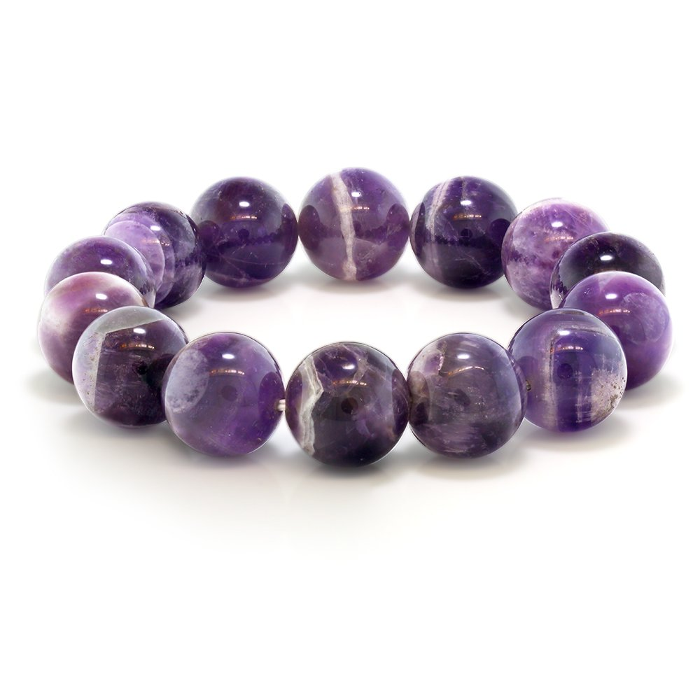 Gem Stone King Purple Amethyst Bead Gemstone Stretchy Bracelet 8.5 Inch Round 16MM by Gem Stone King
