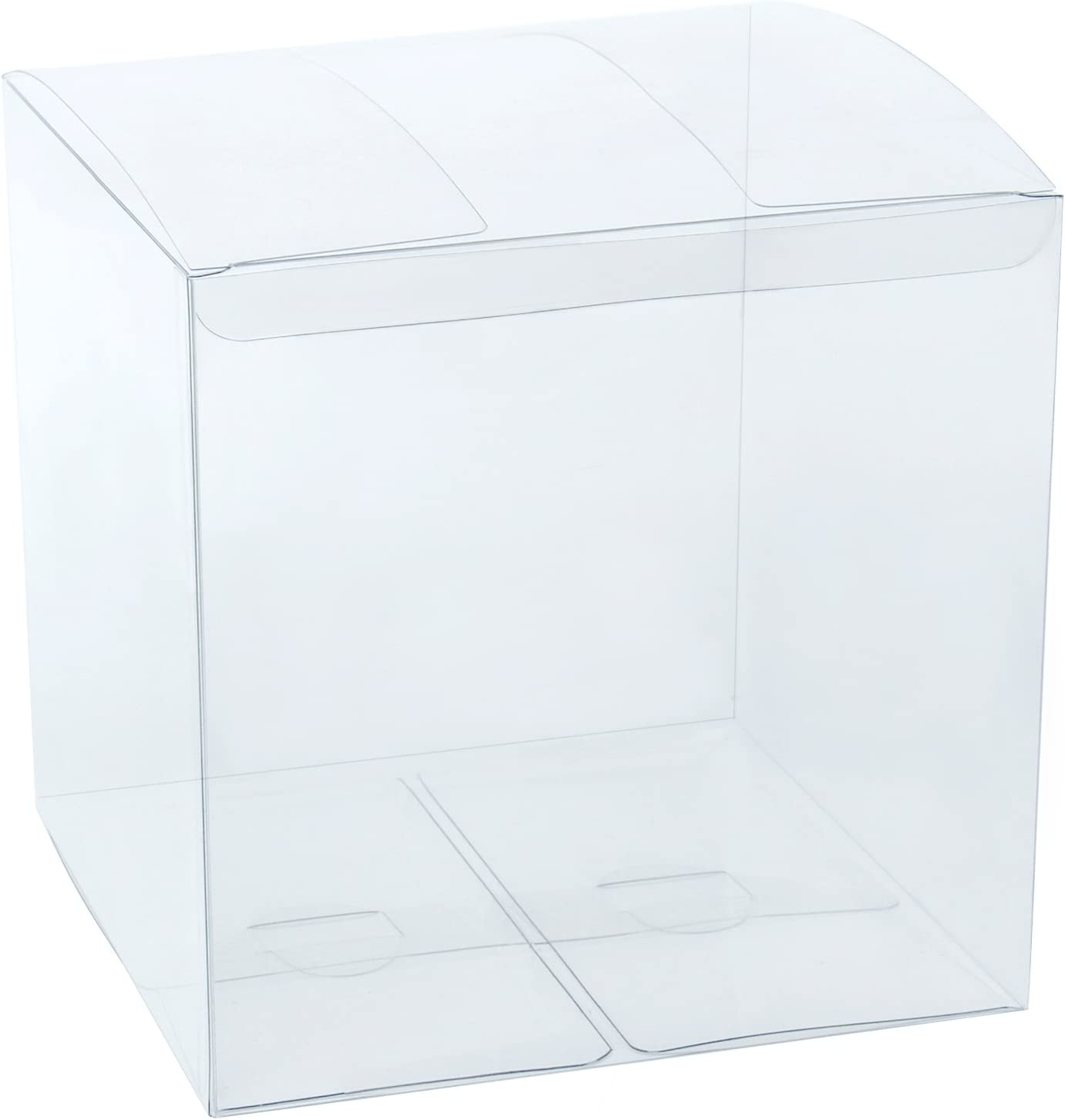 """LaRibbons 20Pcs PET Clear Box, Transparent Boxes, Candy Box, Clear Gift Boxes for Wedding, Party and Baby Shower Favors, 6"""" L x 6"""" W x 6"""" H"""