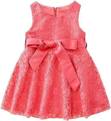 Amazon Com Kids Girls Lace Princess Dress Sleeveless Bow Dress Outfits Mini Red Dresses For Wedding Birthday Party Tutu Dress Clothing