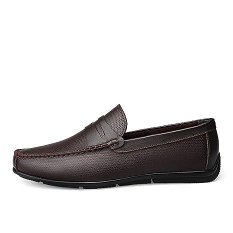 Jiuyue-shoes Mocasines de conducción para Hombres Correa Decoración Slip-on Leisure Penny Mocasines