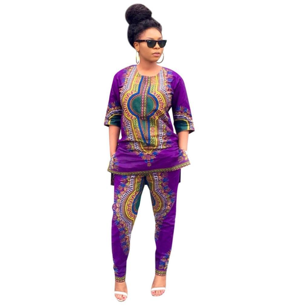 Robe Femme Sonnena Mode Africaine Imprime Ethnique Casual Tops Droites + Pantalons Jupe Filles Violet S-XL (M, Violet)