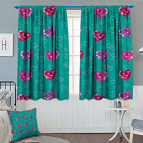 Strongger Teal Decor Thermal Insulating Blackout Curtain Crystal Hearts Gemstone Figures Love Valentines Day Celebrating Romantic Print Patterned Drape for Glass Door 72