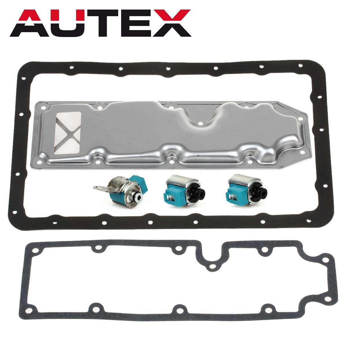 AUTEX A340H AW30-80LE Transmission Shift Master TCC Lock Up Solenoid Control Valve with Pan Filter Gasket Kit Compatible With 85-94 Toyota Pick-up T100 Isuzu Trooper Mitsubishi Montero