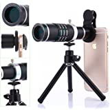 Camera Lens Kit,WMTGUBU 4 in 1 HD Universal Clip-On Phone 18X Optical Zoom Telephoto Lens+18X Super Macro Lens+0.6X Wide Angle Lens Tripod for iPhone Samsung Huawei Ipad Tablet PC Laptops(Black)